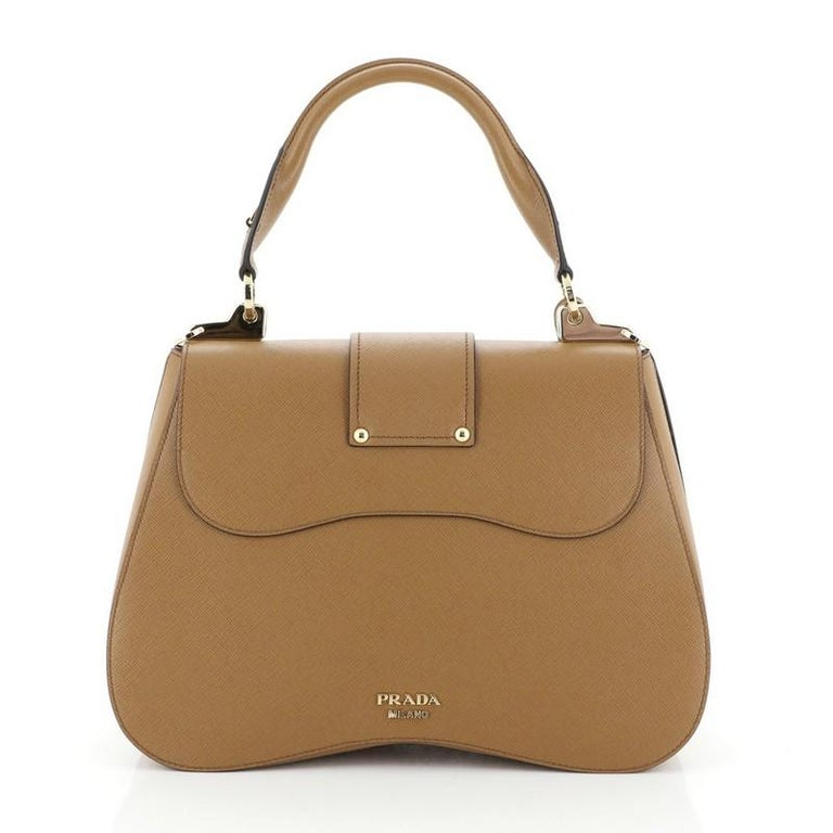 Prada Sidonie Top Handle Bag Saffiano Leather Large In Good Condition For Sale In New York, NY
