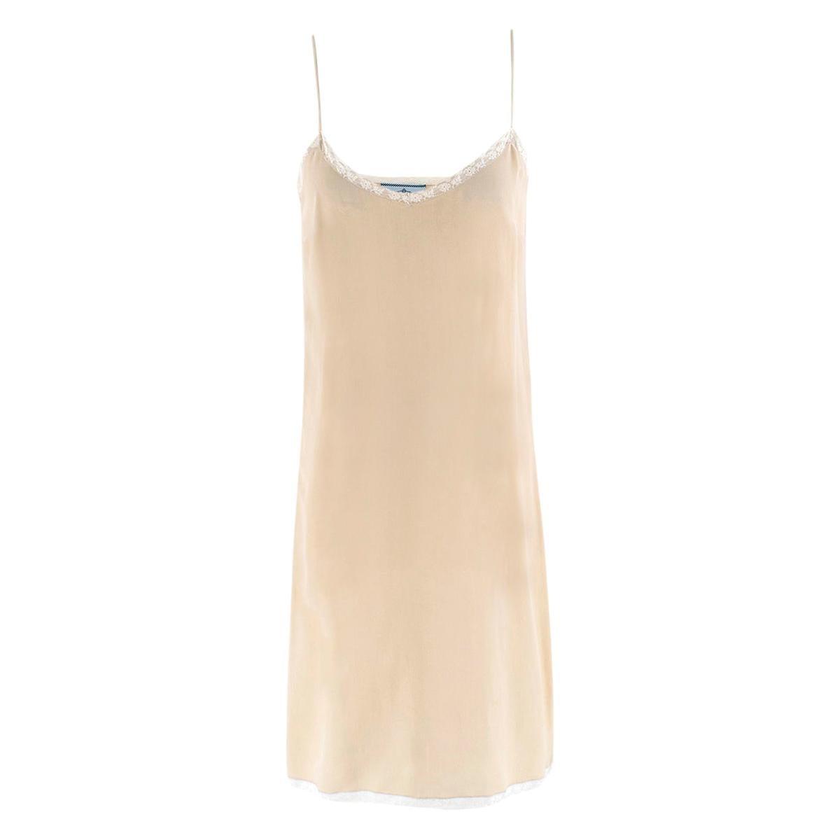 Prada Silk Blend Nude Mini Slip Dress - Size US 2