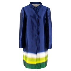 Prada Silk Blue/White/Green Degrade Coat M 44