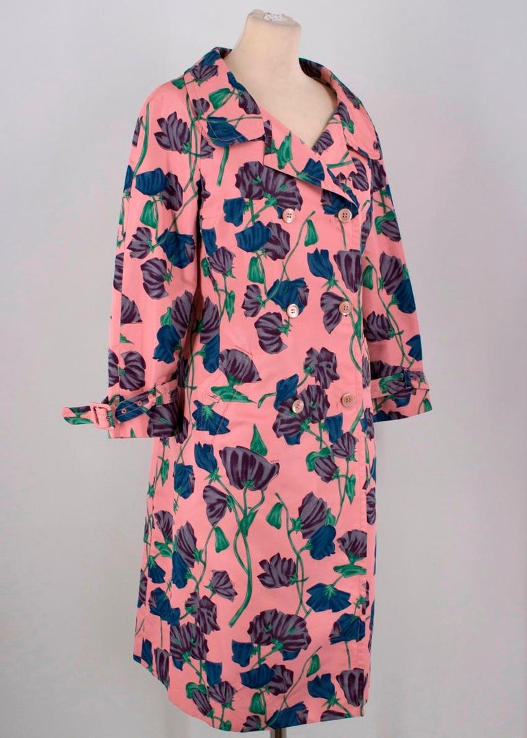 Women's Prada Silk Floral Trench US 6 For Sale