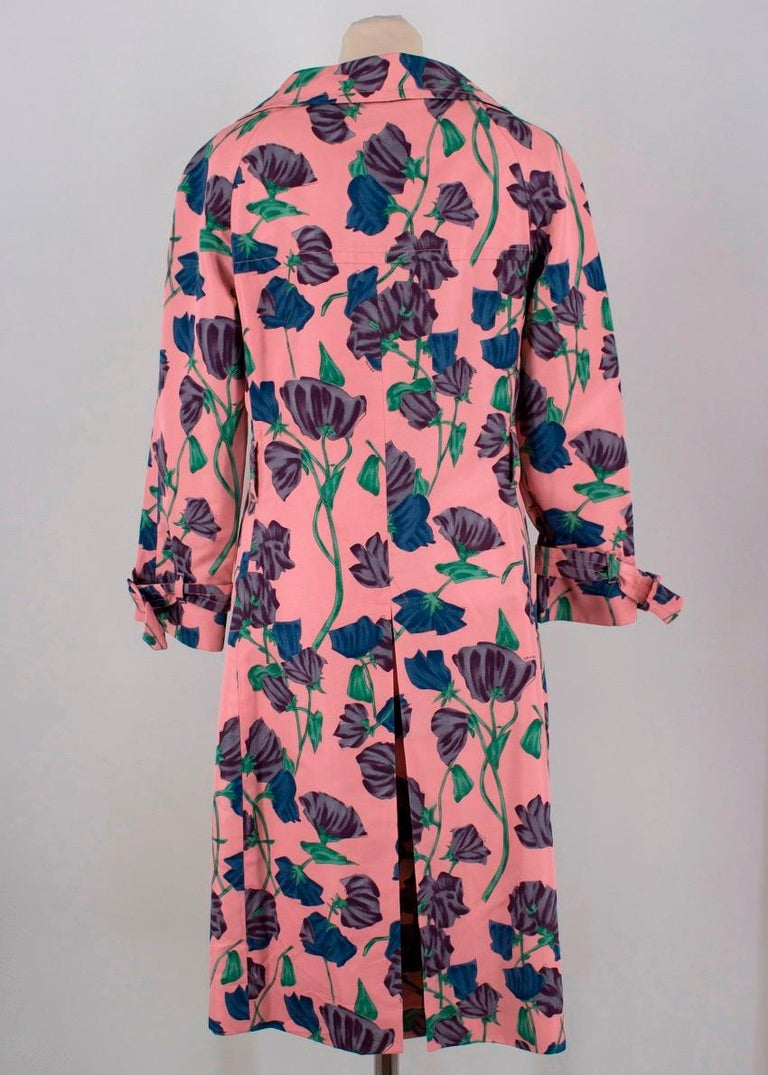 Prada Silk Floral Trench US 6 For Sale 1