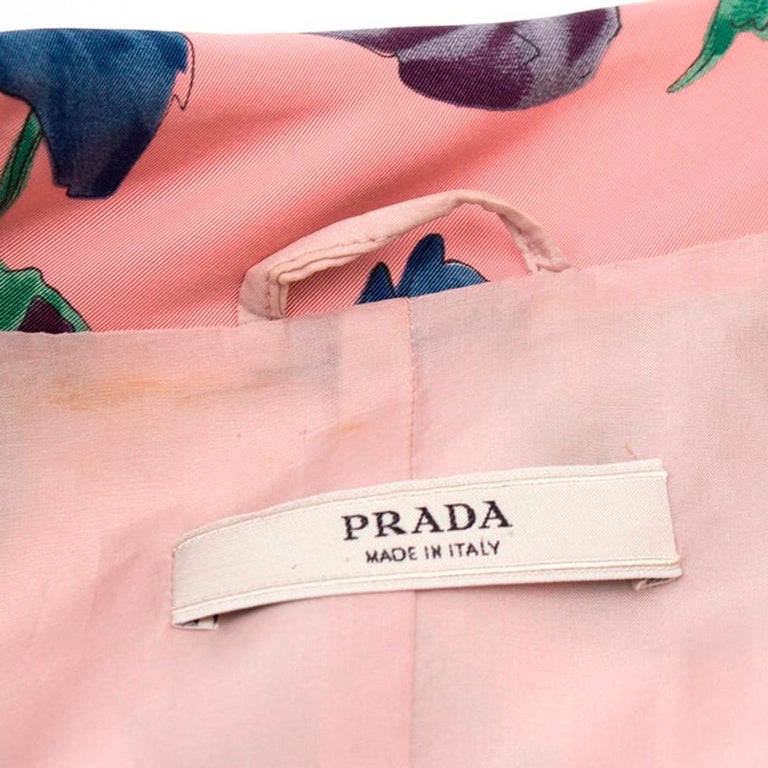 Prada Silk Floral Trench US 6 For Sale 3