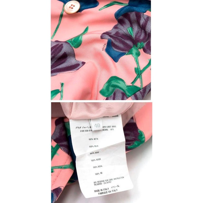 Prada Silk Floral Trench US 6 For Sale 5
