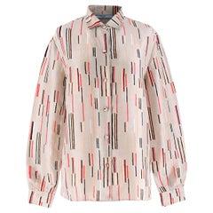 Prada Silk Nude Multi-coloured Line Patterned Shirt (IT) 42