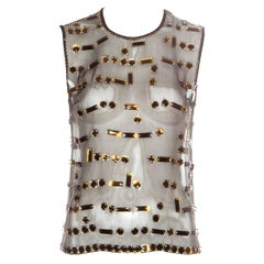 Prada silk organza jewelled vest, fw 1999