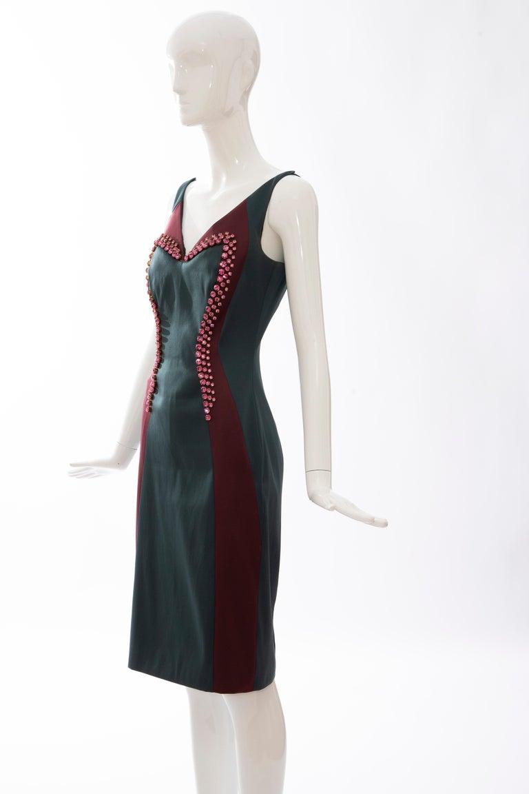 Prada Silk Satin Embroidered Swarovski Crystal Evening Dress, Spring 2012 For Sale 5