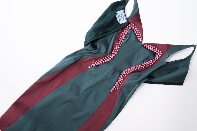 Prada Silk Satin Embroidered Swarovski Crystal Evening Dress, Spring 2012 For Sale 7