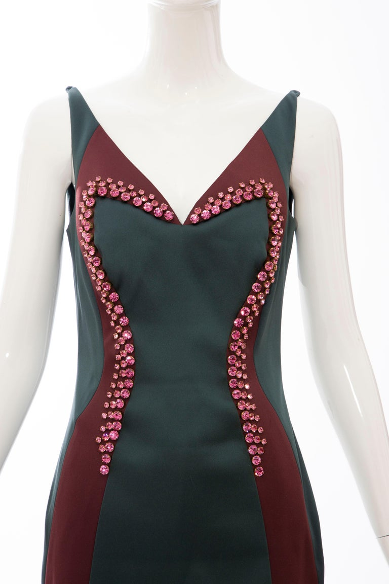 Black Prada Silk Satin Embroidered Swarovski Crystal Evening Dress, Spring 2012 For Sale