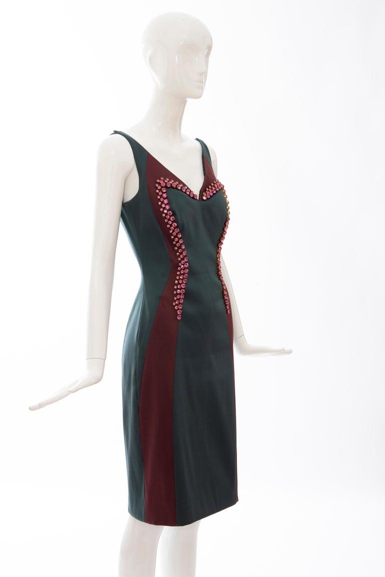 Prada Silk Satin Embroidered Swarovski Crystal Evening Dress, Spring 2012 In Excellent Condition For Sale In Cincinnati, OH