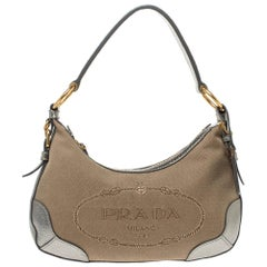Prada Silver/Beige Logo Jacquard Canvas and Leather Hobo
