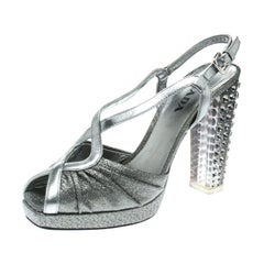 Prada Silver Fabric and Crystal Embellished Slingback Sandals Size 36