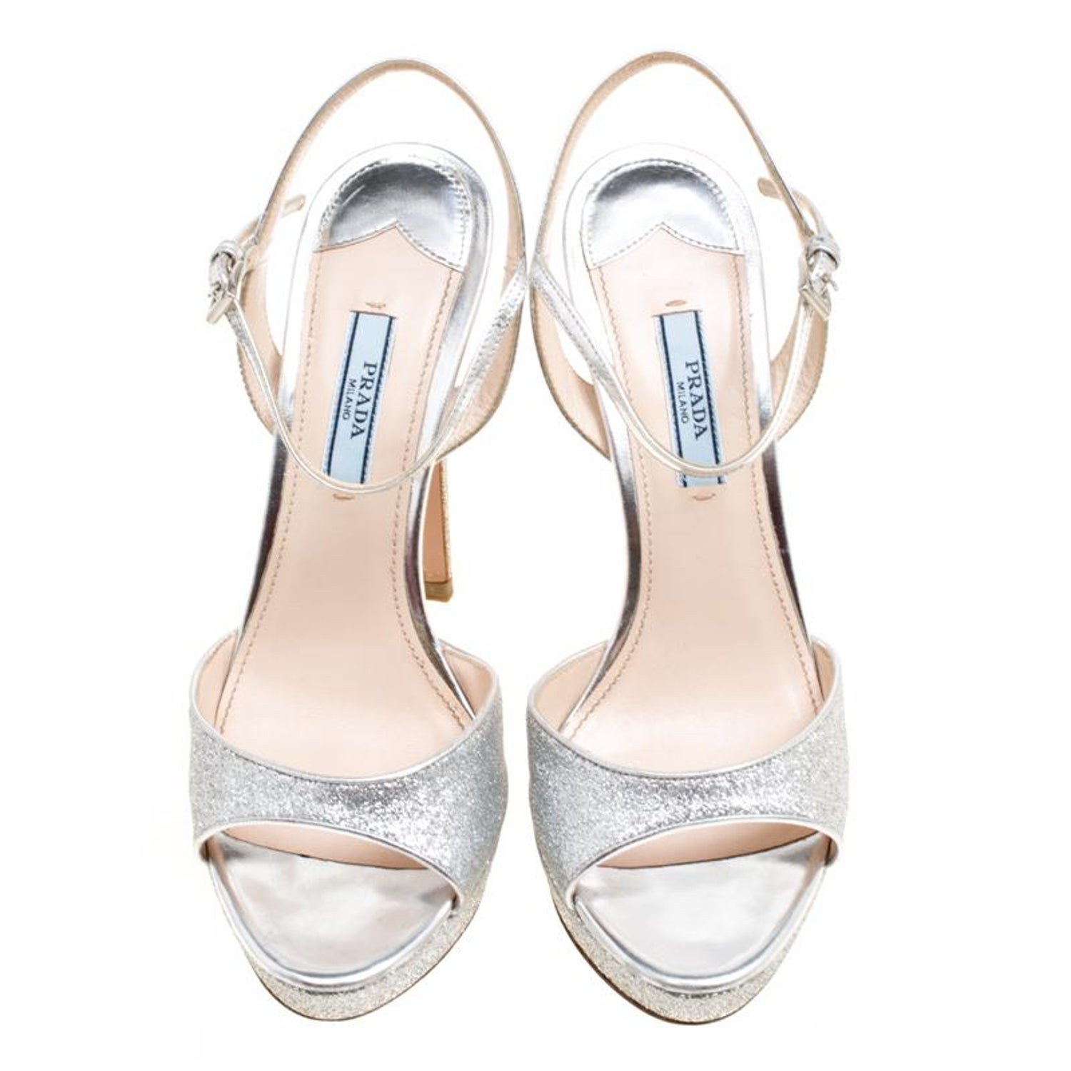 73303460b67 Prada Silver Glitter and Leather Ankle Strap Platform Sandals Size 37 For  Sale at 1stdibs