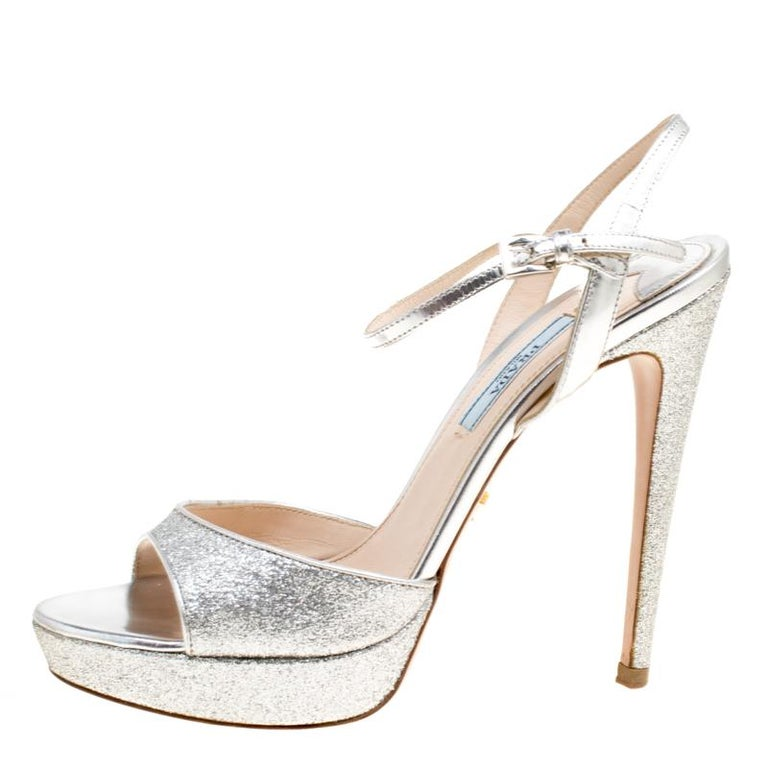 42c10bc6a83 Prada Silver Glitter and Leather Ankle Strap Platform Sandals Size 37 For  Sale. Shimmering and scintillating