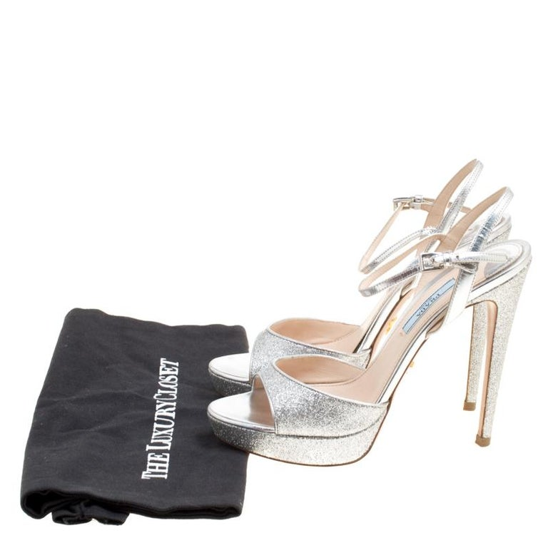 733b44df717 Prada Silver Glitter and Leather Ankle Strap Platform Sandals Size 37 For  Sale 3
