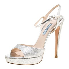 Prada Silver Glitter and Leather Ankle Strap Platform Sandals Size 37