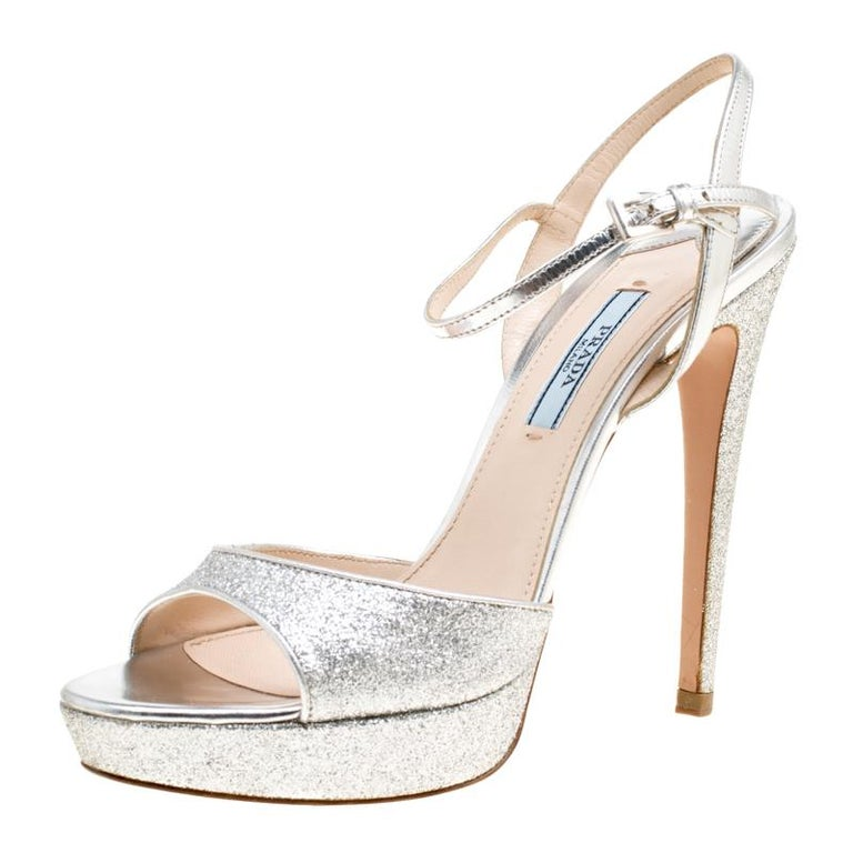 eb73ee3bd4 Prada Silver Glitter and Leather Ankle Strap Platform Sandals Size 37 For  Sale