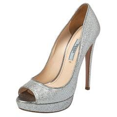 Prada Silver Glitter Peep Toe Pumps Size 37.5