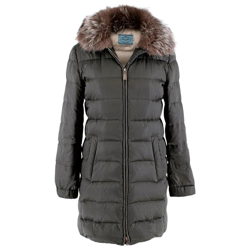 Prada Silver/Grey Nylon Puffer Coat with Fox Fur Collar - Size US 2