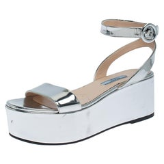 Prada Silver Leather Ankle Strap Platform Sandals Size 37