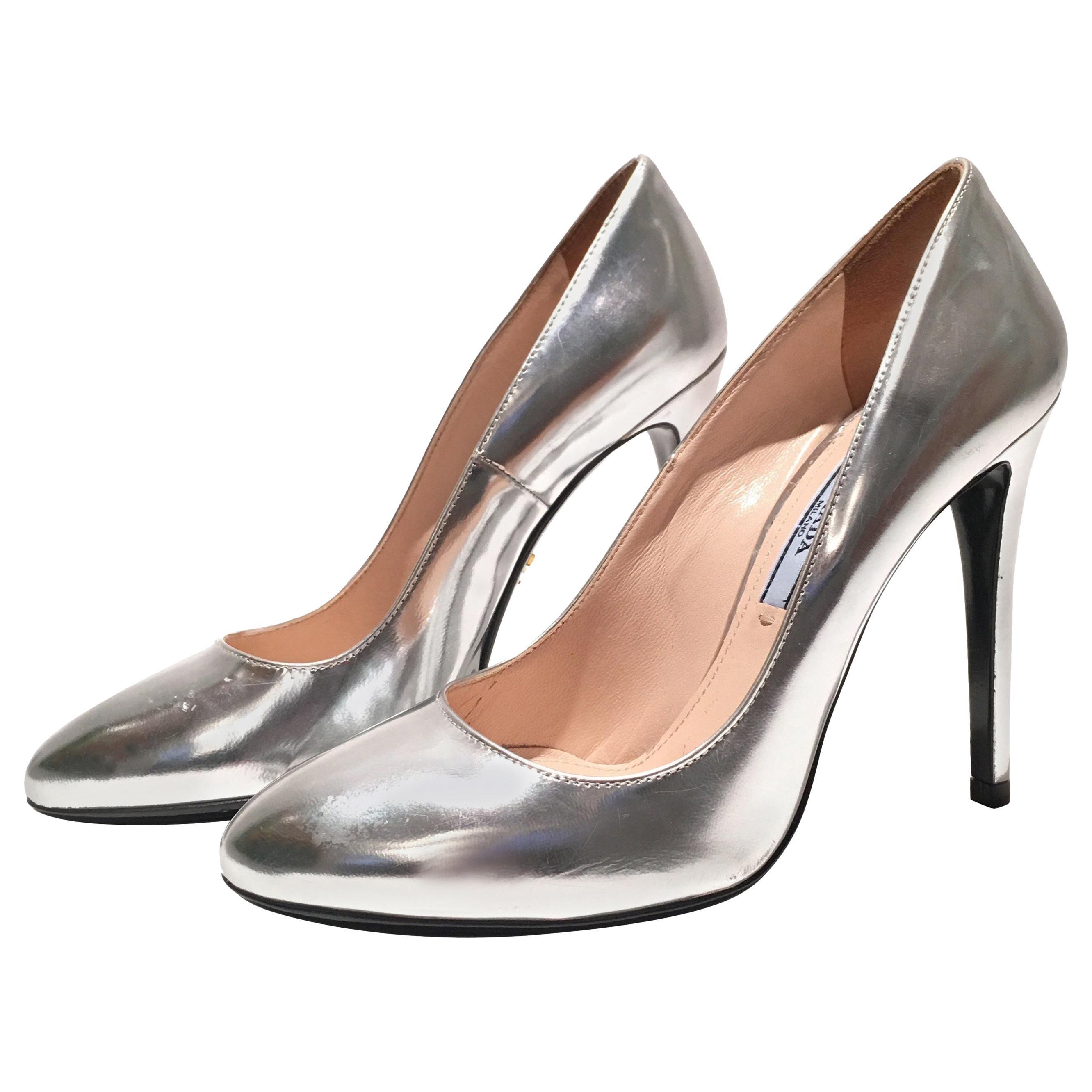 Prada Silver Metallic Heels