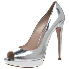 Prada Silver Metallic Leather Peep Toe Platform Pumps Size 39
