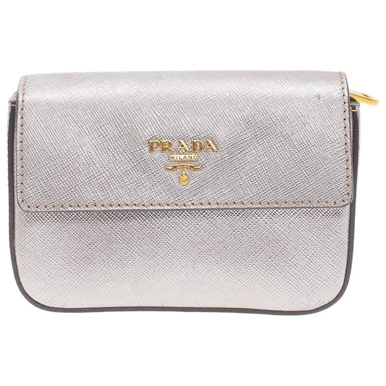 Prada Silver Saffiano Leather Mini Box Clutch For Sale