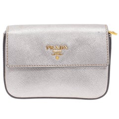 Prada Silver Saffiano Leather Mini Box Clutch