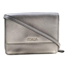 Prada Silver Saffiano Leather Mini Crossbody Bag