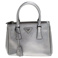 Prada Silver Saffiano Lux Leather Mini Double Zip Tote