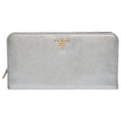 Prada Silver Saffiano Lux Leather Zip Around Wallet Organizer