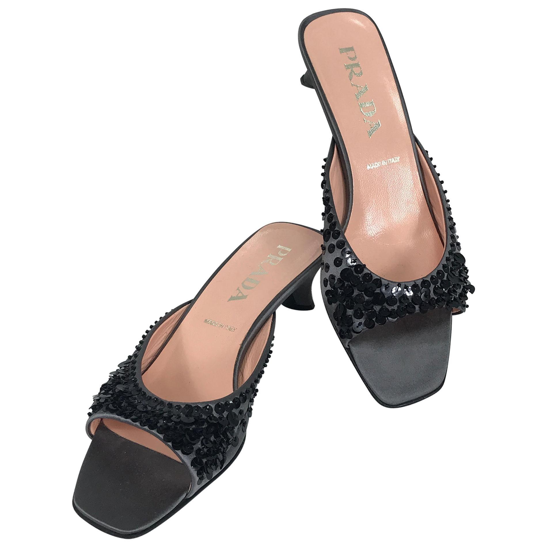 Prada Silver Satin & Black Sequin Open Toe Under Slung Heel Mules 38