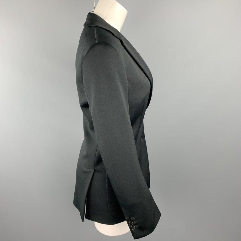 PRADA Size 0 Black Polyester Notch Lapel Oversized Blazer In New Condition For Sale In San Francisco, CA