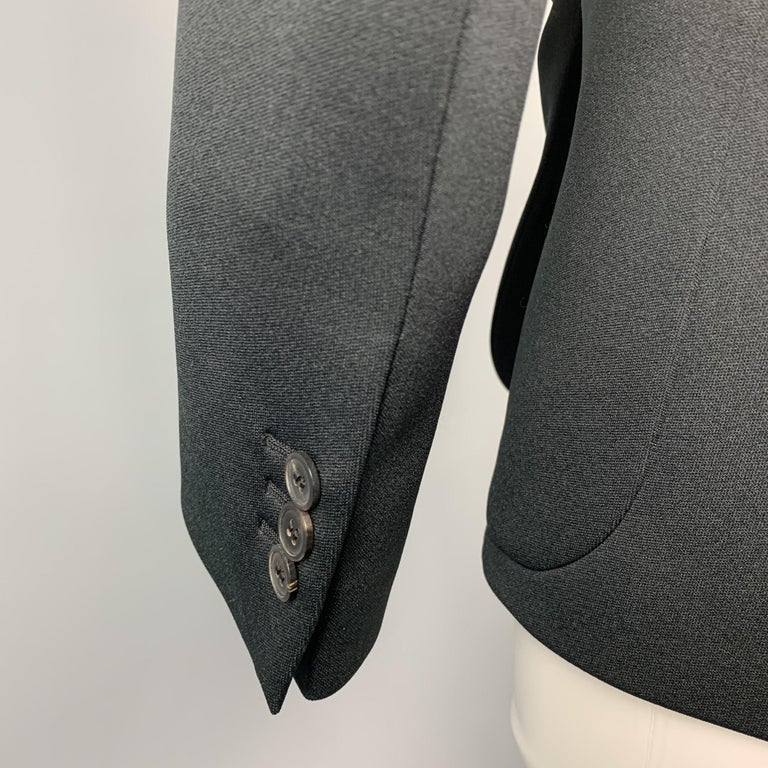 PRADA Size 0 Black Polyester Notch Lapel Oversized Blazer For Sale 1