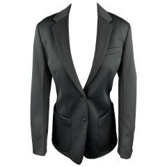 PRADA Size 0 Black Polyester Notch Lapel Oversized Blazer