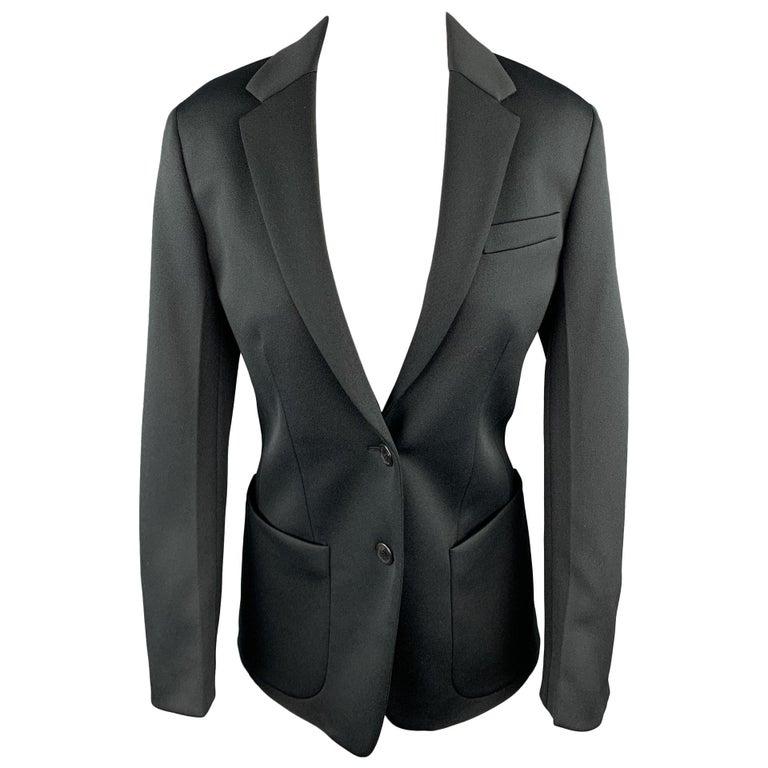 PRADA Size 0 Black Polyester Notch Lapel Oversized Blazer For Sale
