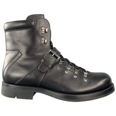 PRADA Size 10 Black Leather Lace Up & Belt Strap Hiking Boots