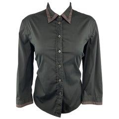 PRADA Size 10 Black Stretch Cotton Brown Trim Blouse