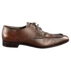 PRADA Size 10 Brown Antique Leather Split Toe Lace Up Shoes