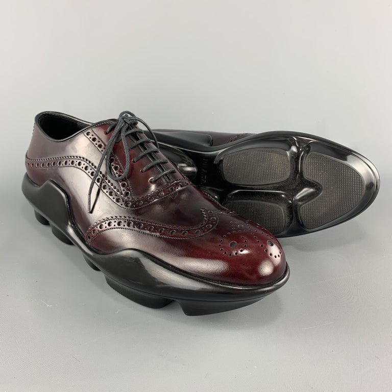 PRADA Size 10 Burgundy Leather Wingtip Rubber Platform Sole Lace Up In Good Condition For Sale In San Francisco, CA