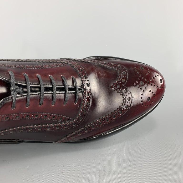 Men's PRADA Size 10 Burgundy Leather Wingtip Rubber Platform Sole Lace Up For Sale