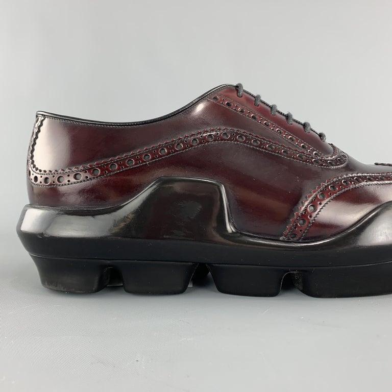 PRADA Size 10 Burgundy Leather Wingtip Rubber Platform Sole Lace Up For Sale 1
