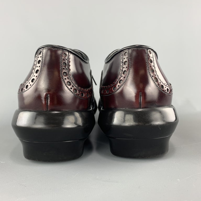 PRADA Size 10 Burgundy Leather Wingtip Rubber Platform Sole Lace Up For Sale 2