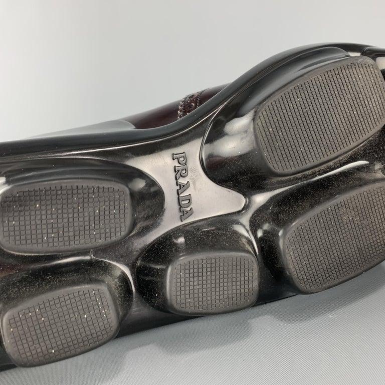 PRADA Size 10 Burgundy Leather Wingtip Rubber Platform Sole Lace Up For Sale 3