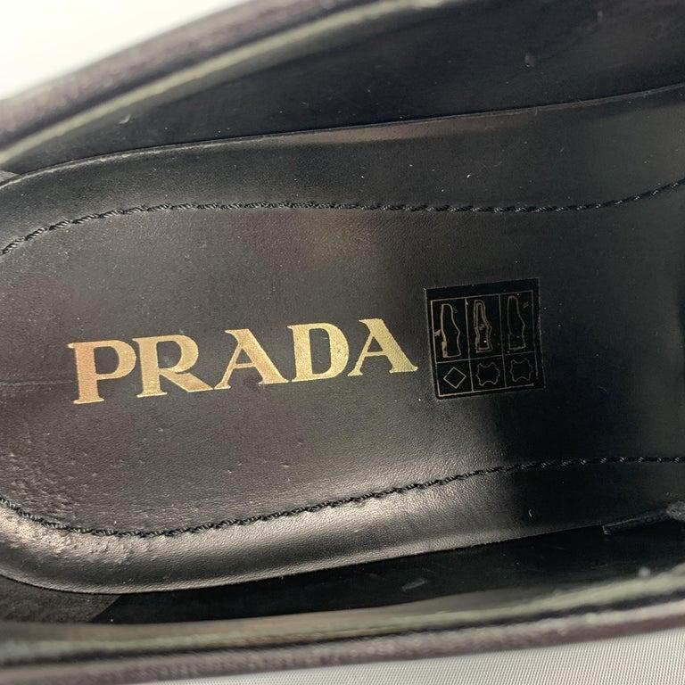 PRADA Size 10 Burgundy Leather Wingtip Rubber Platform Sole Lace Up For Sale 4