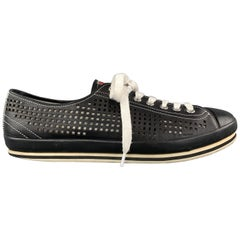 PRADA Size 10.5 Black Perforated Leather Lace Up Sneakers