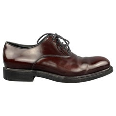 PRADA Size 10.5 Burgundy Polished Leather Lace Up Shoes