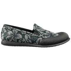 PRADA Size 10.5 Gray Hawaiian Canvas Slide Sneakers