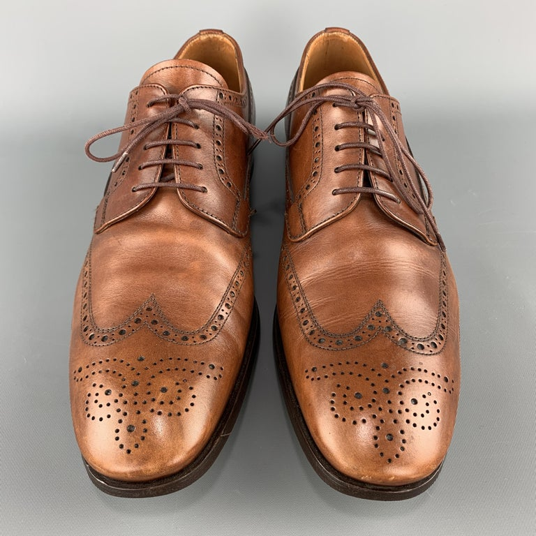 Men's PRADA Size 10.5 Tan Leather Wingtip Lace Up Brogues For Sale