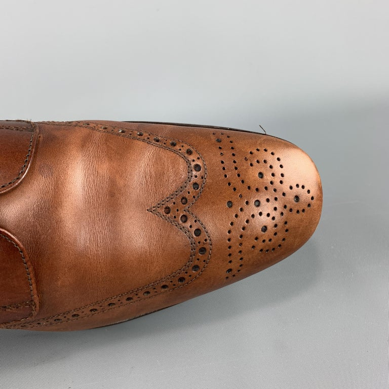 PRADA Size 10.5 Tan Leather Wingtip Lace Up Brogues For Sale 1