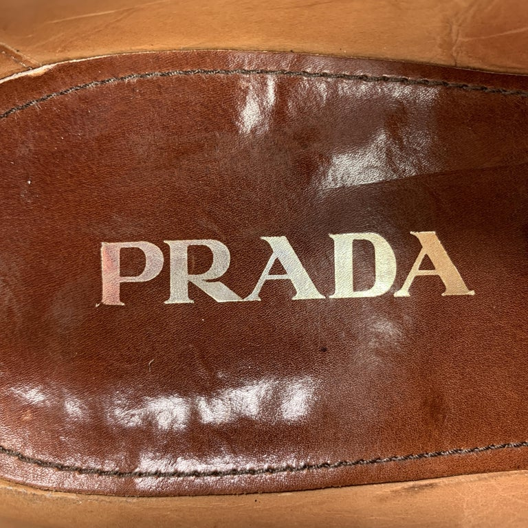 PRADA Size 10.5 Tan Leather Wingtip Lace Up Brogues For Sale 2